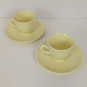 Vintage Dining - Vintage LuRay Pastels s/2 Yellow Cups Saucers MCM